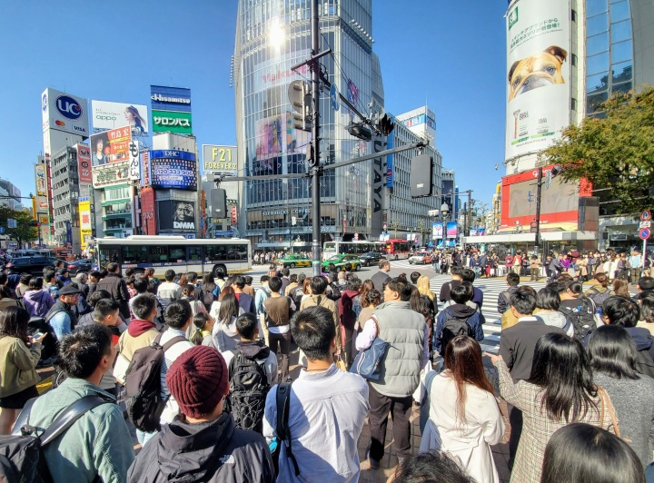 Crossing the Shibuya People Scramble